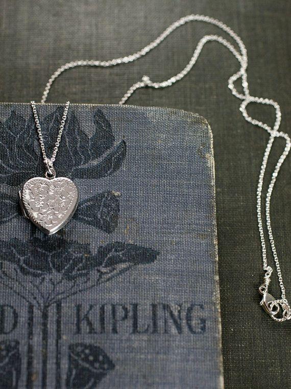 lovely locket 1983 Dainty Sterling Silver Heart Locket Necklace by TforEdgar