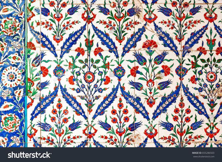 Ancient Ottoman patterned Iznik syle tile composition.