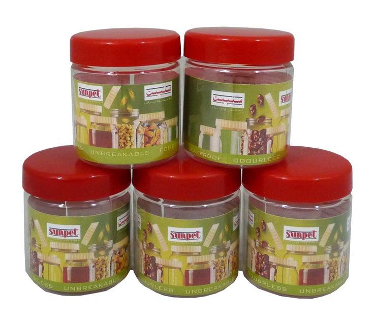 Sunpet 100 ml Red Top Plastic Food Storage Jars Canisters (6 Pack) #StorageJars