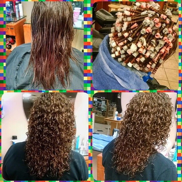 Spiral perm on gray, white, and pink rods--before/during/after.
