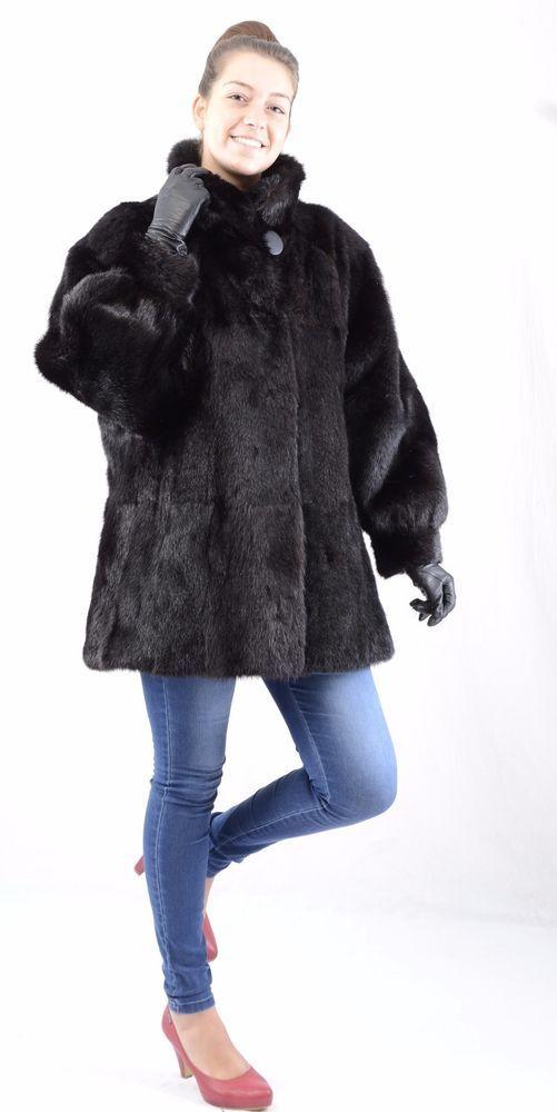 A749 Murmeltier Pelzjacke Jacke Pelz  Mantel wie Nerz Marmot Fur Jacket Coat ~XL