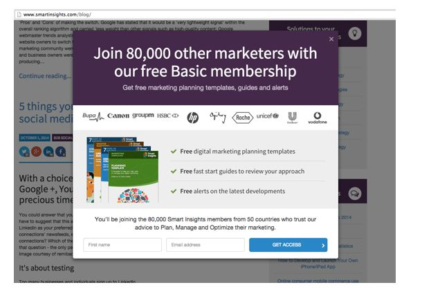 Engaging your site visitors with Pop-ups - Smart Insights Digital Marketing Advice