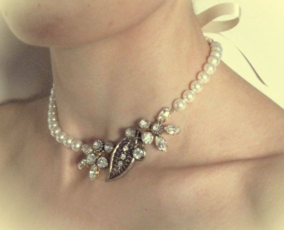 Bridal Vintage Diamante and Pearl necklace £40 handmade by LucyFisherDesigns