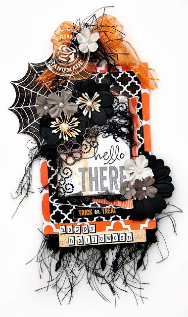 Here is a Halloween tag created for Prima Marketing /Glitz product swap.  I used  wonderful embellishments and  the Glitz Raven Collection.