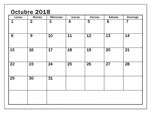 Calendario Colombia 2019 Octubre.Calendario Octubre 2018 Colombia Calendario Octubre 2018
