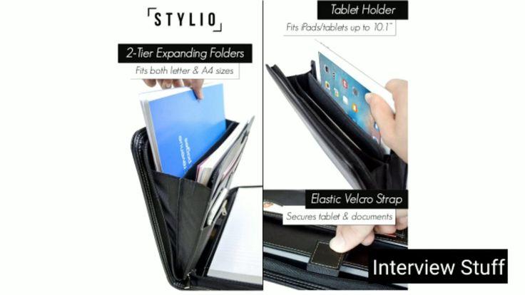 Stylio zippered padfolio portfolio binder interview