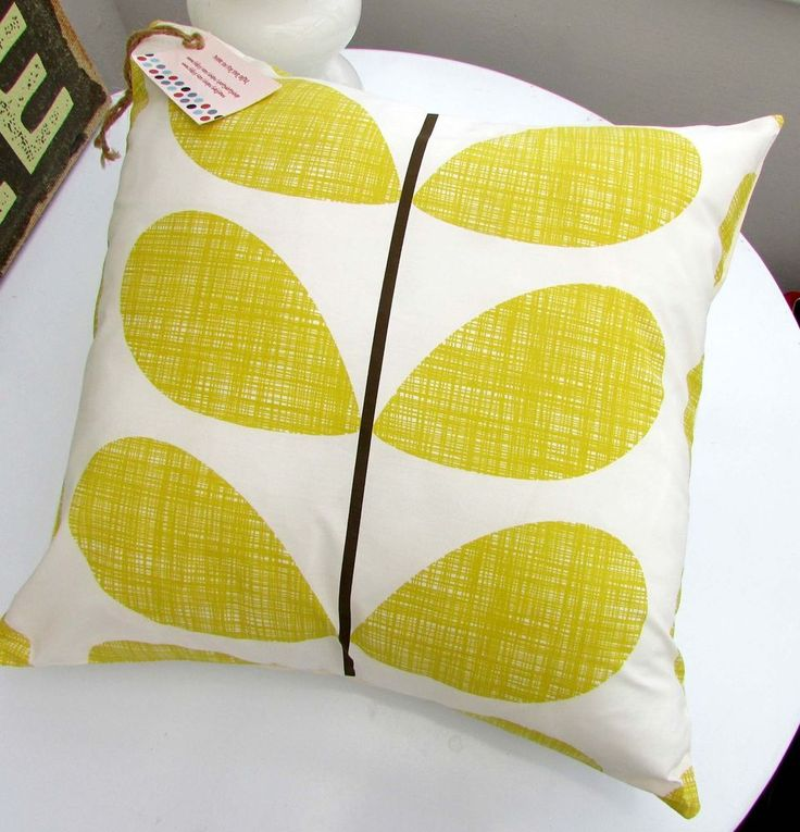 CUSHION COVER ORLA KIELY SCRIBBLE STEM SOFT LEMON YELLOW OCHRE BED FABRIC MULTI in Home, Furniture & DIY, Home Decor, Cushions | eBay