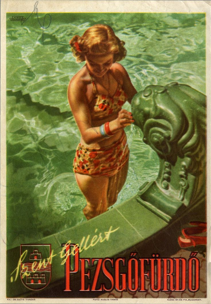 Szent Gellért Pezsgőfürdő - Budapest - a Gellért gyógyfürdő plakátja  - 1947.