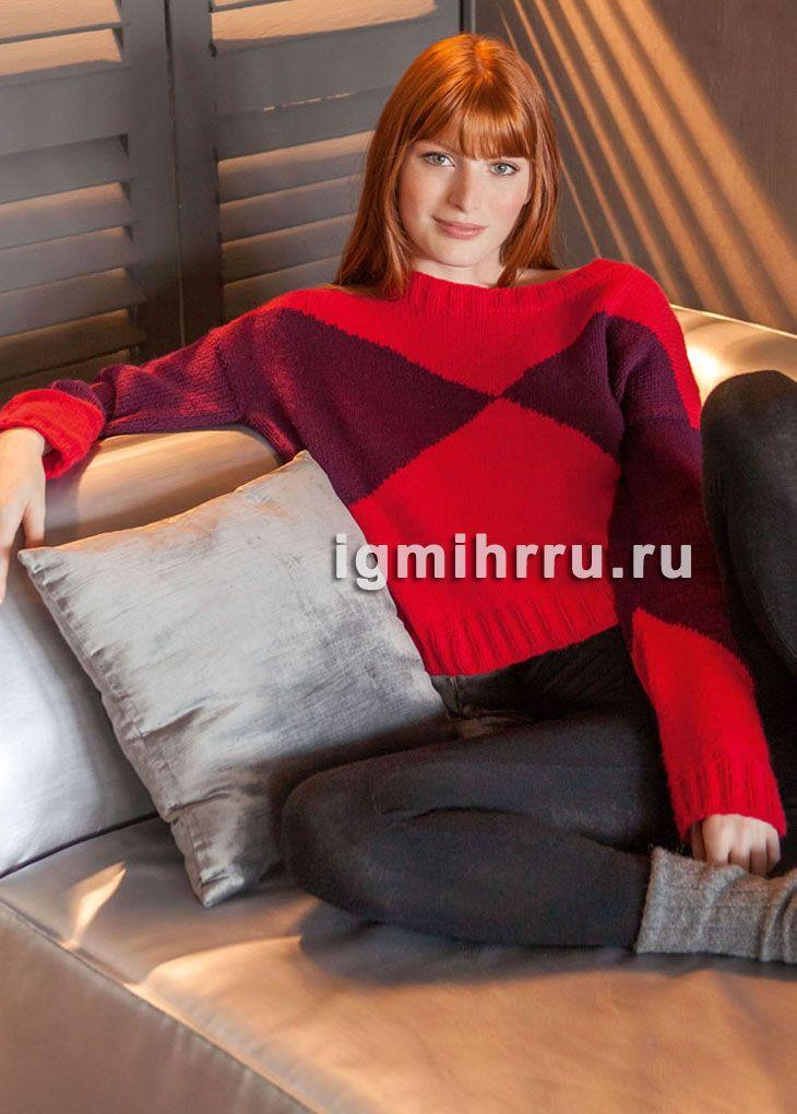 Красный кашемировый пуловер с бордовыми участками. Вязание спицами