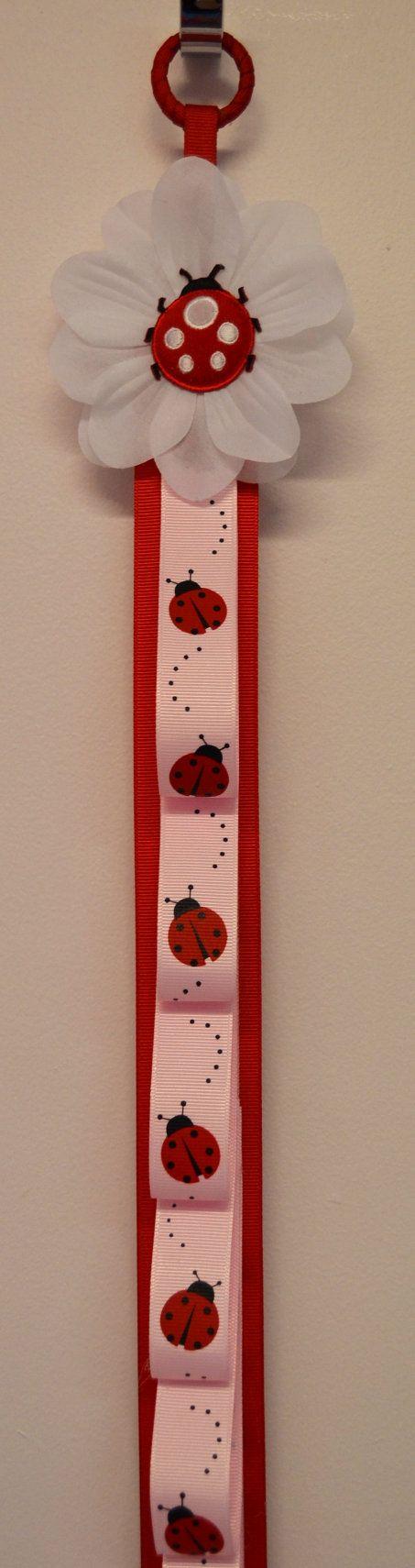 Ladybug Ribbon Headband Holder by Funnygirldesigns on Etsy, $22.00