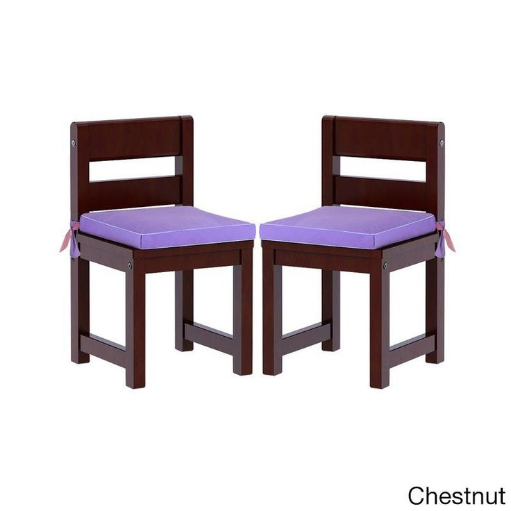 Maxtrix Kids Mates 36 Two Small Chairs with Purple/ Pink Seat Pads (Chestnut (Brown)) (Cotton)