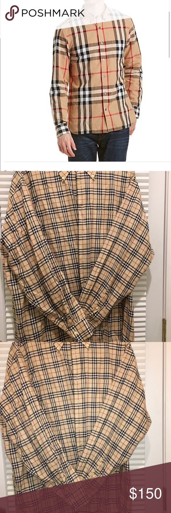 Burberry Men's Shirt Burberry Men's signature checked cotton button-down shirt. Detailed with buttons on the collar and extra buttons. Wear open with T shirt underneath it or traditionally. Perfect condition. Worn 3x. Only selling because now too small. Burberry Shirts Casual Button Down Shirts