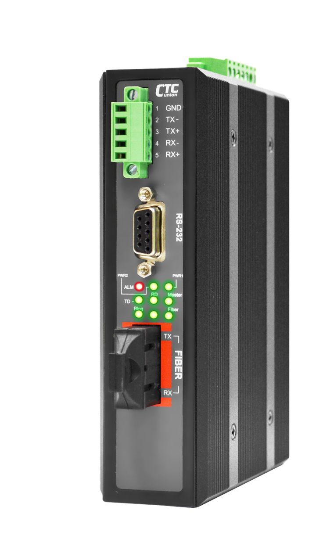 IFC-SERIAL-E-SC030 - RS-232, RS-485, RS-422 over singlemode fiber industrial media converter 30Km 2.5kV isolation, enhanced -40 to 75 Celsius temp