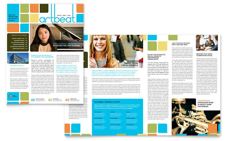creative pdf layouts  | Arts Council & Education Newsletter Template Design | StockLayouts