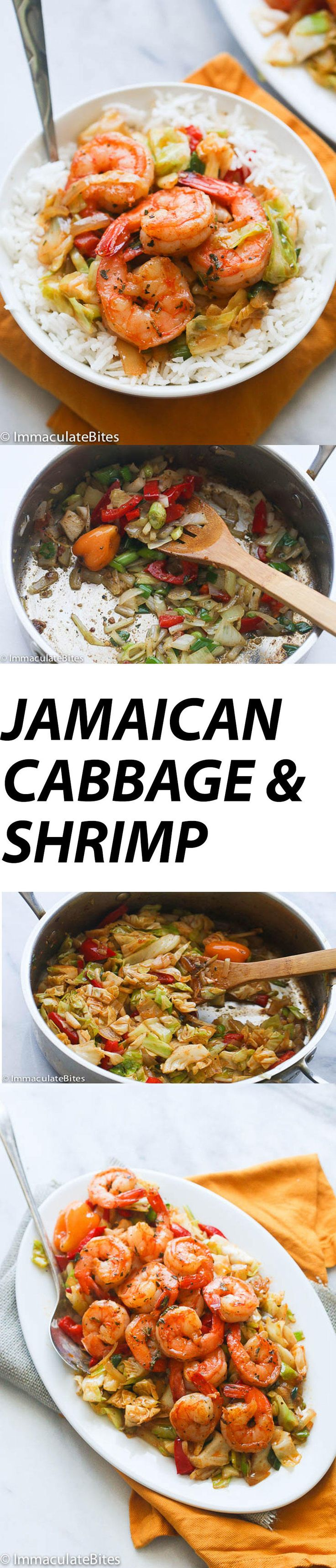 Jamaican Cabbage and Shrimp-A quick stir fried cabbage seasoned with aromatic spices  and topped with sauté shrimp . A Delicious  side dish to accompany any meal.