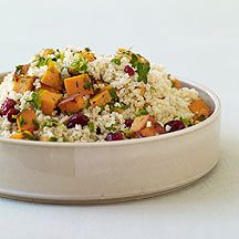 Millet Pilaf with Cranberries, Sweet Potatoes and Thyme:  = 2/3 tsp. olive oil per serving of 1/6 recipe, use fresh or frozen thawed cranberries or count for dried