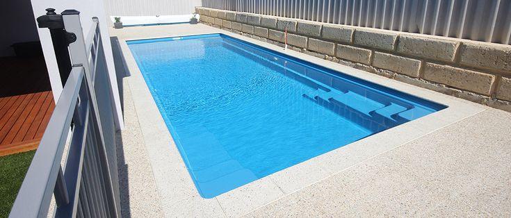 Dynasty - 9.22m x 3.77m, 1.1m - 1.66m depth. http://www.sapphirepools.com.au/swimming-pools/dynasty/