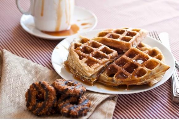 Girl Scout Samoas Waffles With Coconut Caramel Sauce ooooh
