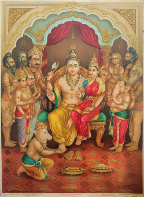 Lord Shiva and Parvati sitting in a throne  Oleograph of Ravi Varma. 1928. (ECP 144) (via ebay: havan21)