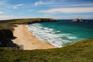 Holywell Bay Beach, Cornwall. beautiful golden beach near Newquay.