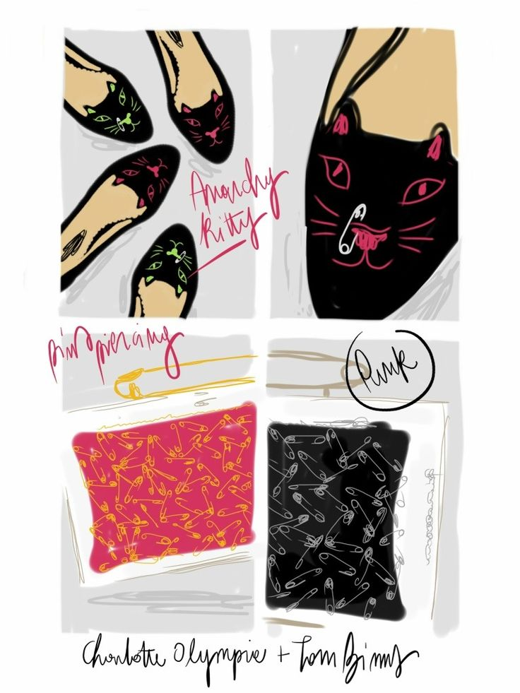 Anarchy Kitty from Charlotte Olympia + Tom Binns Punk Collection.   #fashion #illustration Open Toe - Opentoeillustration.com