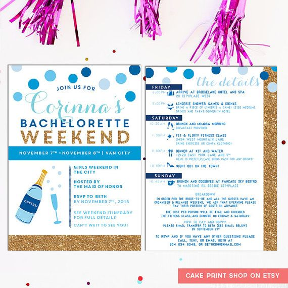 Bachelorette #Itinerary Bachelorette invite with by CakePrintShop
