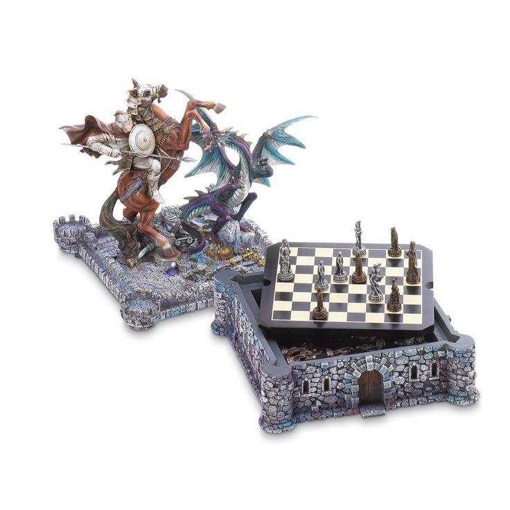 Dragon Crest Midieval Knight & Dragon Chess Set