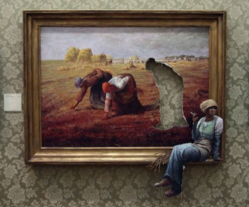 "Les glaneuses ""revu et corrigé"" par banksy The Gleaners (Des glaneuses) is an oil painting by Jean-François Millet composed in 1857."