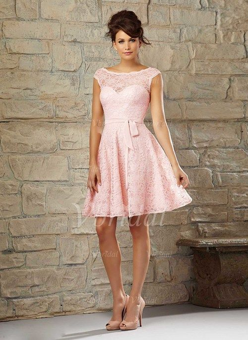 Bridesmaid Dresses - $134.77 - A-Line/Princess Scoop Neck Knee-Length Lace Bridesmaid Dress (0075058677)