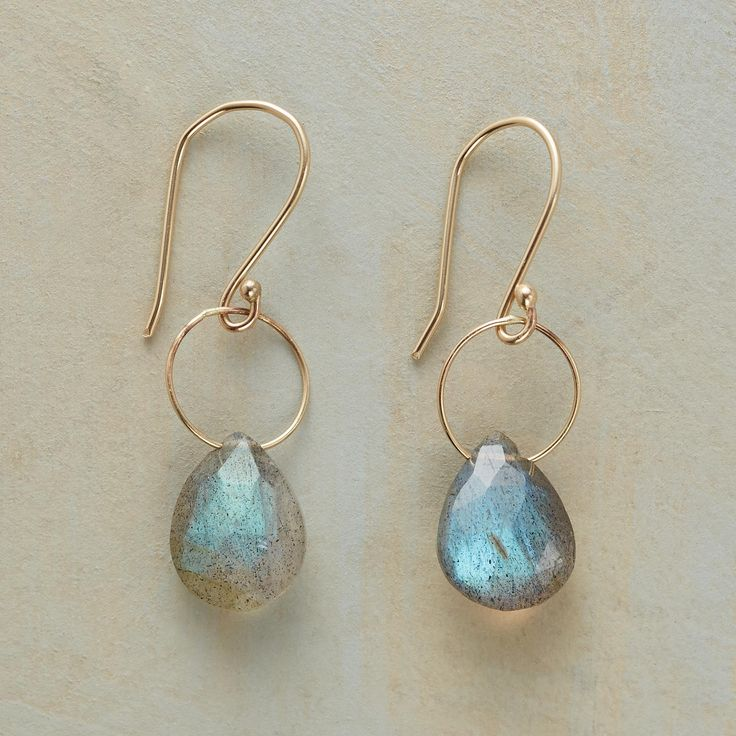 """TIP TOP EARRINGS--In these dangling labradorite 14kt gold earrings, a delicate ring of 14kt gold is an airy contrast to earth-borne labradorite. French wires. Handmade in USA, designed by Kyoko Honda. 1-1/8""""L."""