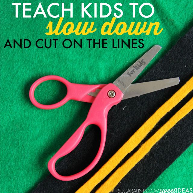 How to teach kids how to slow down and cut on the lines with modifications and accommodations for sensory, visual, fine motor, difficulties due to behavioral and attention problems.