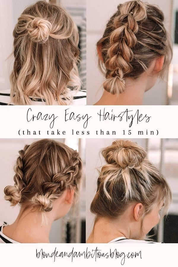 Crazy Easy Hairstyles That Last Less Than Minutes Easy Simple Hairstyles Medium Hair Styles Easy Hairstyles Easy Braid Styles