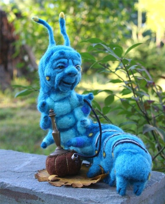 The Blue Caterpillar in Alice's Wonderland with his Hookah, by needle felt artist Stevi T.