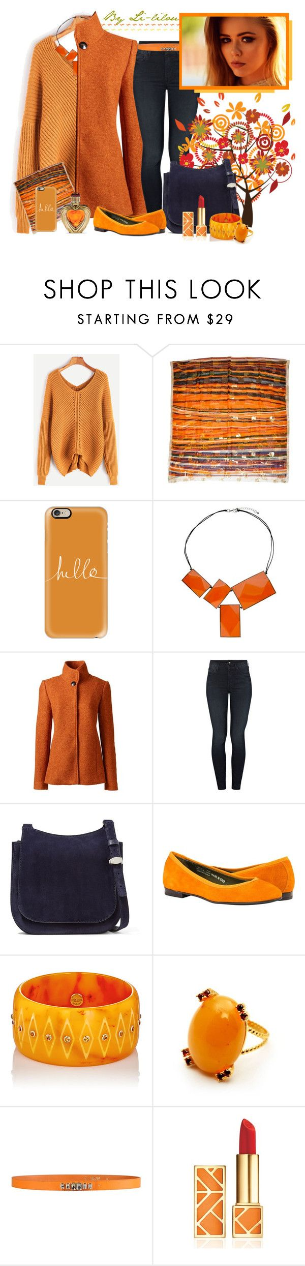 """Orangé en hivers"" by li-lilou ❤ liked on Polyvore featuring WithChic, Pierre Balmain, Casetify, One Button, Lands' End, Mother, The Row, Mark Davis, George J. Love and Tory Burch"