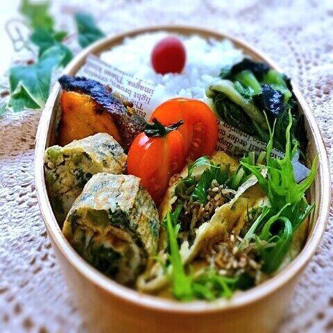 posted from @nachipower115 @お弁当アート ~日本のお弁当文化~ パパ弁当は鮭の西京焼きとパリパリお揚げの水菜とじゃこサラダ詰め、大根の葉と明太子炒め入りの卵焼き等でした。#obentoart