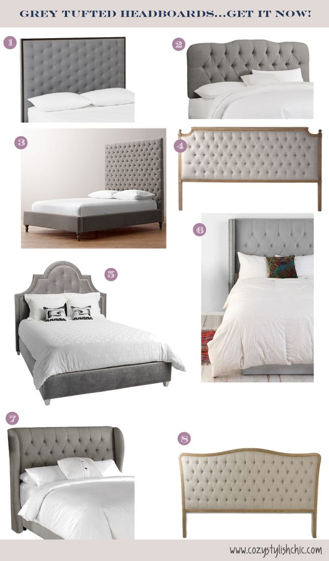 A collection of grey tufted headboards