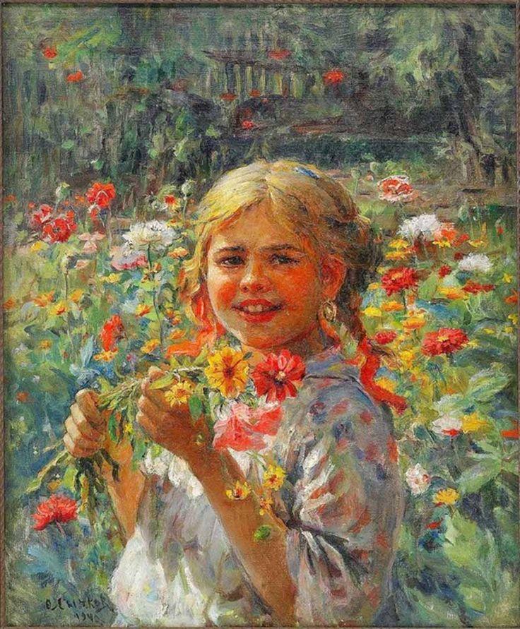 Сычков Федот Васильевич. Девочка, собирающая полевые цветы