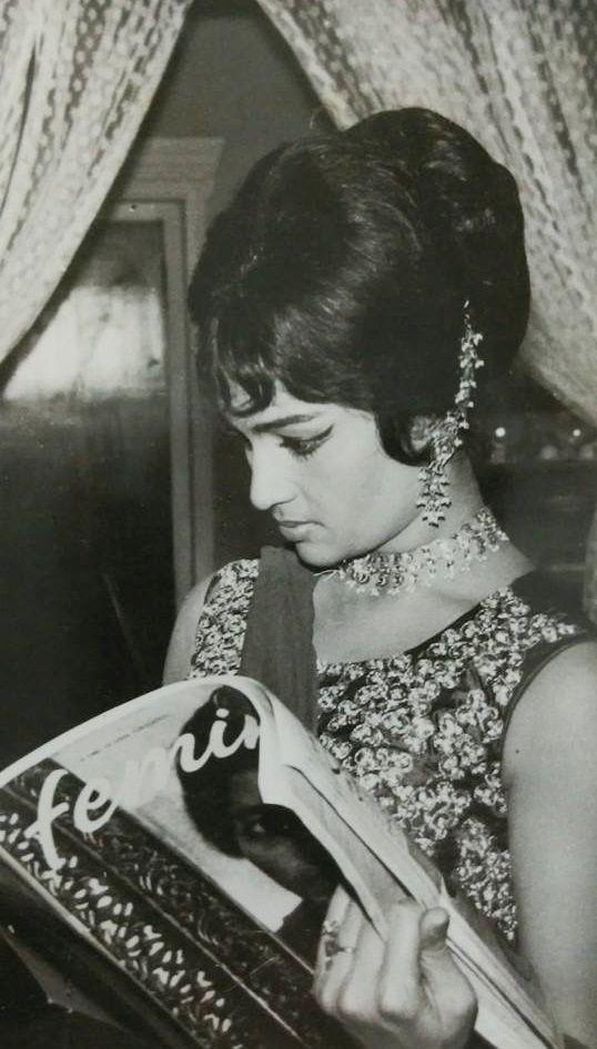"memories-of-indian-cinema: "" Asha Parekh reading Femina magazine. """