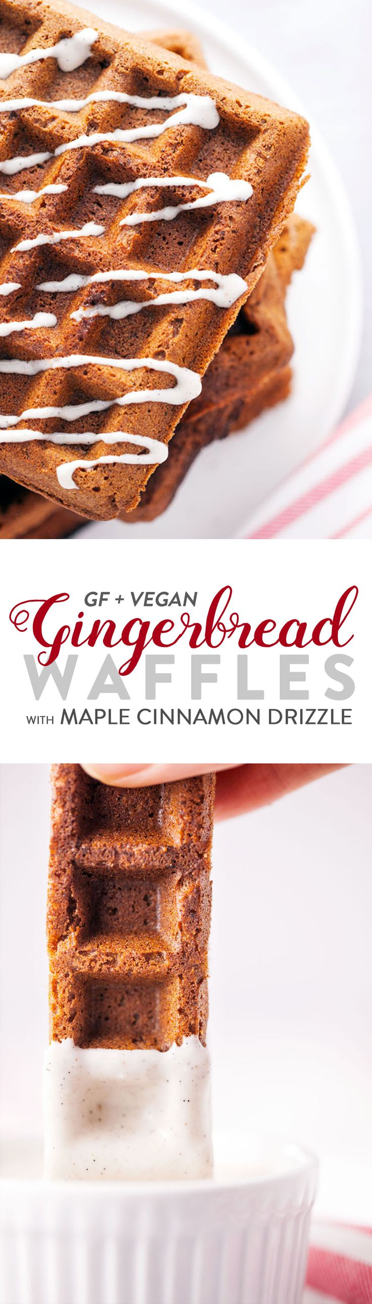 Holiday inspired waffles that taste like gingerbread cookies! But, you won't need to feel guilty about eating gingerbread for breakfast – they're loaded with gluten-free teff flour, holiday spices, and then topped with a vegan maple cinnamon drizzle. They also make perfect waffle sticks for dipping. A fun winter breakfast or brunch. Vegan & Gluten Free.