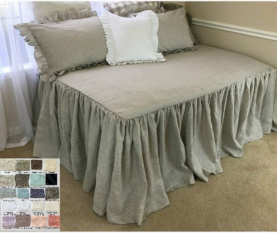 Daybed Cover, Daybed Bedding, Fitted Daybed Cover, Daybed Cover Set Natural linen, Linen Bedding. Shabby Chic Bedding,Ruffle Bedding