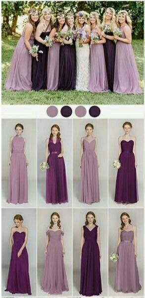 Me encanta la combinación  en los vestidos de dama en púrpura y lavanda 😍