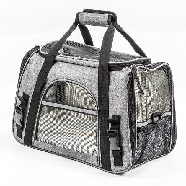 Buy Pawfect Pets Premium Soft Sided Dog Cat Travel Carrier Charcoal Grey At Chewy Com Free Shipp Cat Travel Carrier Airline Approved Pet Carrier Cat Travel