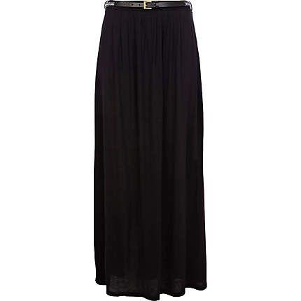 Black belted side split maxi skirt £25.00