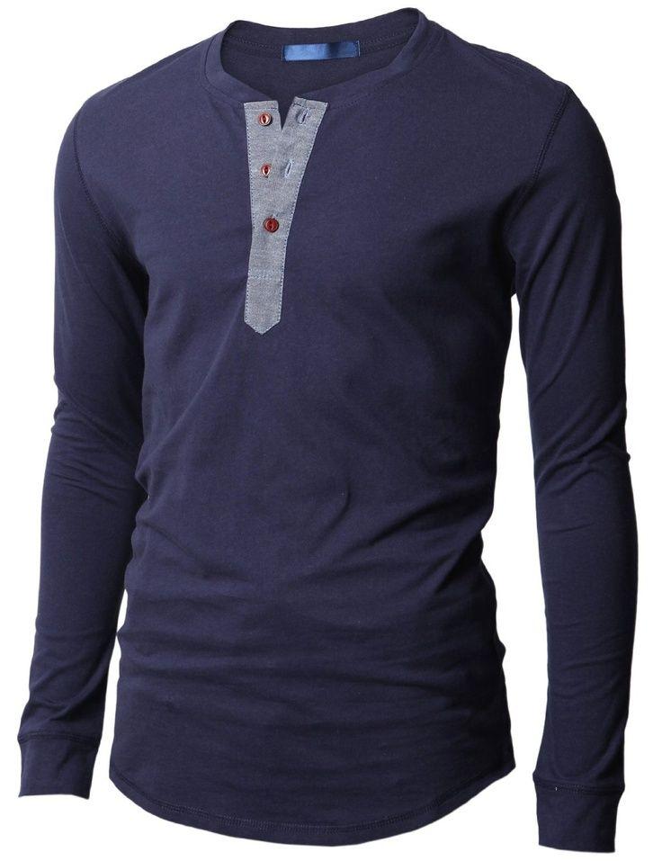 Doublju Mens Casual Long Sleeve Henley Shirts