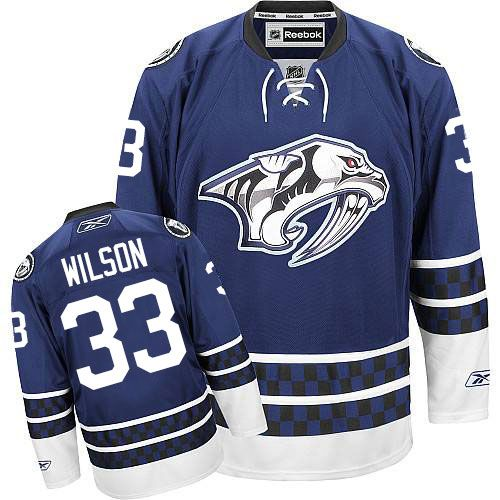 Authentic Colin Wilson Blue Men's NHL Jersey: #33 Nashville Predators  Reebok Third