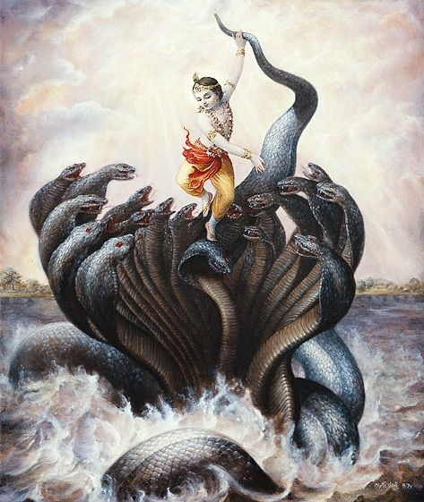 Lord Krishna overpowered the deadly snake Kalia, that had poisened the water of river Yamuna