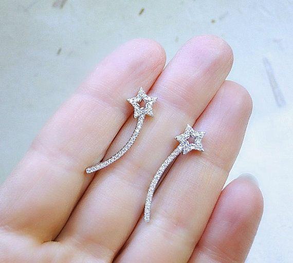 Silver Star ear pins,Sterling Silver earrings, star ear pins, cubic zirconia earrings, pave diamond ear pin, silver earrings, gift for her