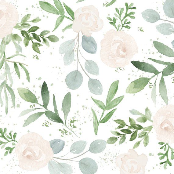 Watercolor Greenery And White Flowers Two Digital Paper Bundle