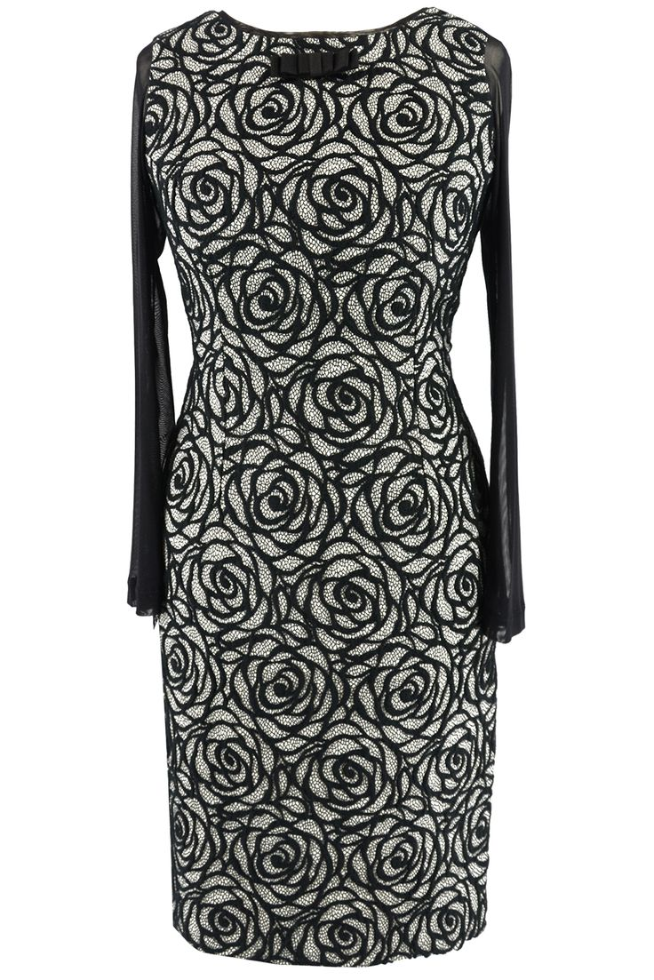 Sisel sukienka ołówkowa żakard róże OUTLET n-fashion.pl #christmas #dress #fashion