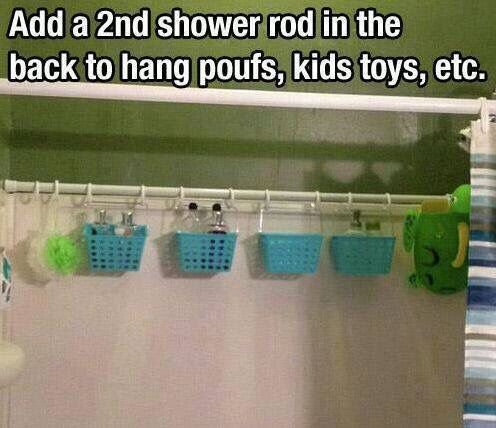 Shower rod & baskets in the tub to keep the kids toys picked up and allow them to dry. I'd hang it lower so the kids can reach though.